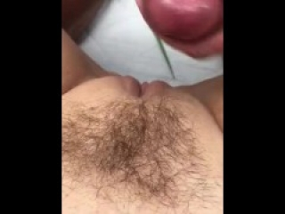 Swedish girl gets cum on her hairy pussy outside by online hookup