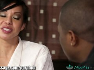 NuruMassage Asian MILF and Big Black Cock