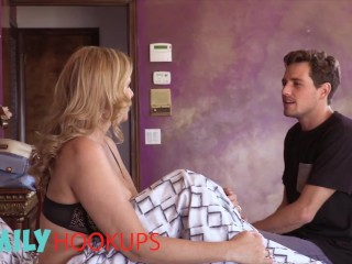 FamilyHookups - Horny Mom Julia Ann Sucks Her Stepson's Cock & Rides Him Until He Jizz On Her Lips