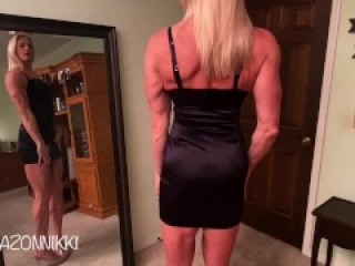 OMG she STRIPS out of every DRESS! 1 beautiful muscle AMAZON, 6 HOT dresses! Vote for your fav! Pt 1