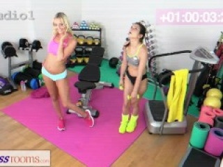 Fitness Rooms Gym lesbian's crazy big cock fuck