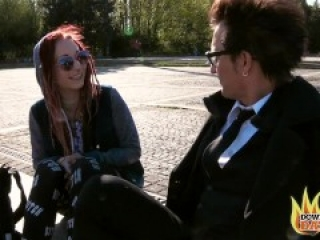 PublicSexDate - DOGGYSTYLE COUCH HOOKUP WITH REDHEAD PUNK GIRL JEZZI CAT