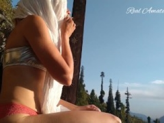 Hot Amateur Girl Seen Smoking in Mountains With White Hijab