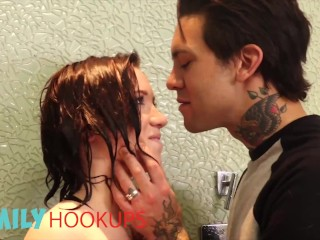 Family Hook Ups - Hot Redhead Babe Bailey Brooke Has Sex With Her Stepbrother In The Shower