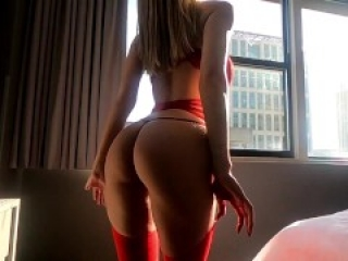 Berkley gets fucked hard in real hotel sex hookup wearing red lingerie